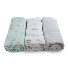Bubba Blue Bubba Blue Mint Meadow Bamboo 3PK Muslin Wraps