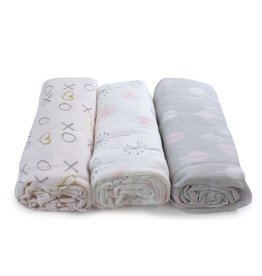 Bubba Blue Bubba Blue Pink Bloom 3 PK Muslin Wraps