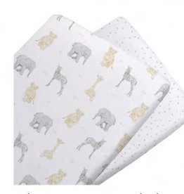 Living Textiles Living Textiles Savanna 2pk Jersey Bassinet Fitted Sheet
