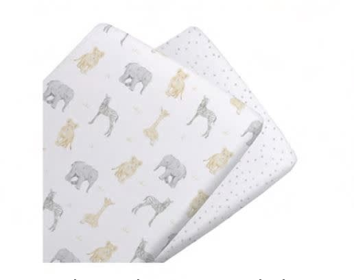 Living Textiles Living Textiles Savanna 2pk Jersey Cradle Fitted Sheet