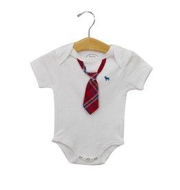 Frenchie Frenchie White Bodysuit - Red & Navy Check Stripe Tie