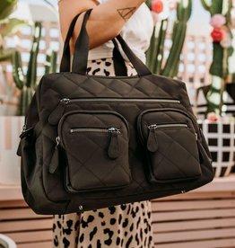 oioi OiOi Carry All Black Diamond Quilt Nappy Bag