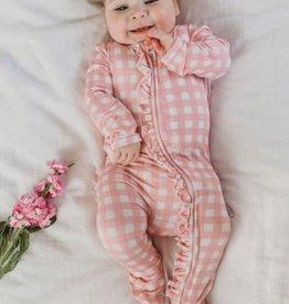 oioi OiOi Bamboo Zip Ruffled Romper - Pink Gingham