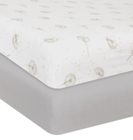 Living Textiles Living Textile Dandelion Organic Muslin 2pk Cot Fitted Sheet