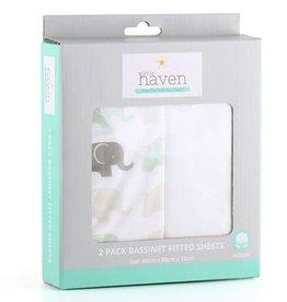 Little Haven Little Haven Elephant 2Pk Bassinet Sheets