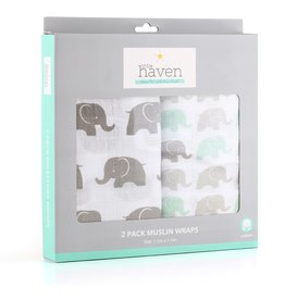 Little Haven Little Haven Elephant 2Pk Cotton Muslin Wraps (120x120)