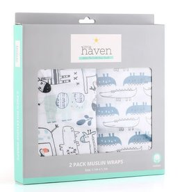 Little Haven Little Haven Safari 2Pk Cotton Muslin Wraps