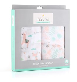 Little Haven Little Haven Llama 2Pk Cotton Muslin Wraps