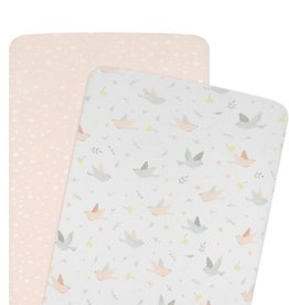 Living Textiles Living Textiles 2-pack Jersey Bassinet Fitted Sheet (40 x 80 x 12cm) - Ava/Blush Floral