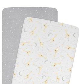 Living Textiles Living Textiles 2-pack Jersey Bassinet Fitted Sheet (40 x 80 x 12cm) - Noah/Stars