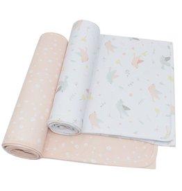Living Textiles Living Textiles 2-pack Jersey Wrap (100 x 100cm) - Ava/Blush Floral