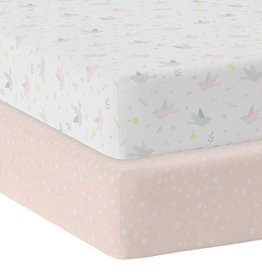 Living Textiles Living Textiles 2-pack Jersey Cot Fitted Sheet - Ava/Blush Floral