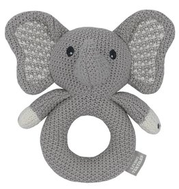 Living Textiles Living Textiles Whimsical Knitted Ring Rattle -  Mason the Elephant
