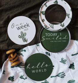 Snuggle Hunny Kids Snuggle Hunny Kids Reversible Milestone Cards - Cactus & Leaf Green