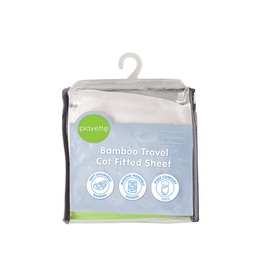 Playette Playette Bamboo Travel Cot Fitted Sheet - White
