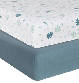 Living Textiles Living Textile Banana Leaf Organic Muslin 2pk Cot Fitted Sheet