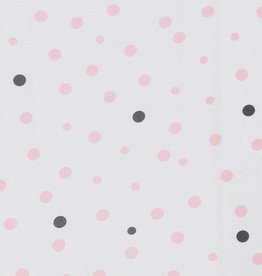 Little Turtle Little Turtle Rectangle Cot Fitted Sheet Woven Cotton Pale Pink & Grey Spots