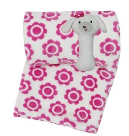 Little Haven Little Haven Pink Flower Blanket With Puppy Rattle