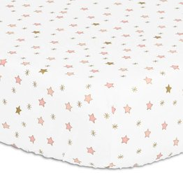 The Peanut Shell Peanut Shell Fitted Sheet Sweet Swan Pink/Gold Stars