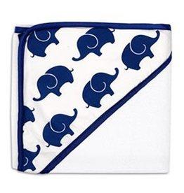 The Peanut Shell Peanut Shell Hooded Towel Navy Elephant
