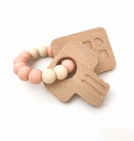 OneChewThree OneChewThree Keys Silicone and Beech Wood Teether
