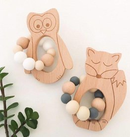 OneChewThree OneChewThree Fox/Owl/Bear Silicone Beech Wood Teether