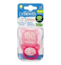 Dr Browns Dr Brown's PreVent Glow in the Dark Pacifier - Stage 1(2Pack) 0-6 months Pink