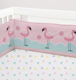 Lolli Living Flamingo 2pc Full-size bumper set Pink Scallops