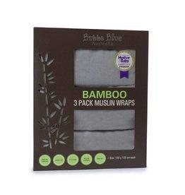 Bubba Blue Bubba Blue Grey Bamboo 3pk Muslin Swaddle Wraps