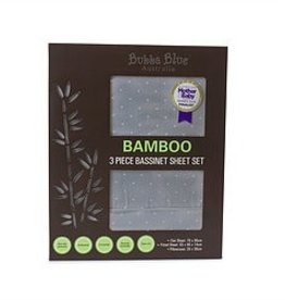 Bubba Blue Bubba Blue Grey Bamboo 3pcs Bassinet Sheet Set