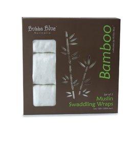 Bubba Blue Bubba Blue White Bamboo 3pk Muslin Swaddle Wraps
