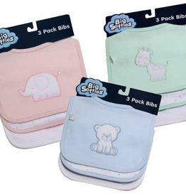 Big Softies Big Softies Cotton Bib 3Pk Assorted