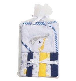 Big Softies Big Softie Knit Hooded Towel and 6 Washer set Blue Boy