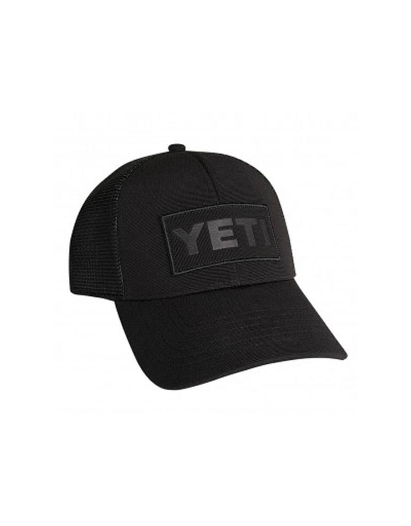 Yeti Hat Black on Black Patch Trucker
