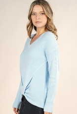 Lovestitch Lovestitch-I-50904 waffle knit twist top