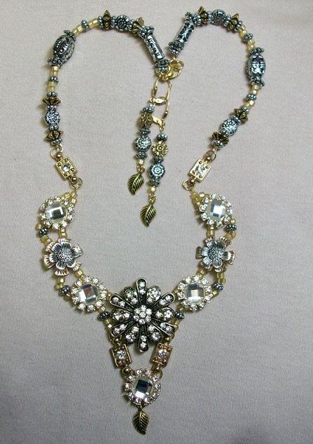 Sharon B's Originals Silver & Gold Crystal Pendant w/Crystal Slides ER & Necklace Set