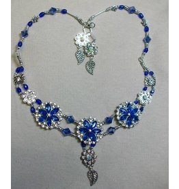 Sharon B's Originals 3 Silver Royal Blue Flowers w/Crystal Slides ER & Necklace Set