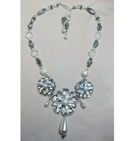 Sharon B's Originals 3 Silver & Crystal Flowers w/Pearl Teardrops ER & Necklace Set