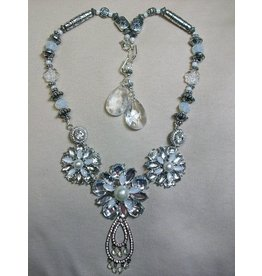 Sharon B's Originals 3 Silver & Crystal Flowers w/Vintage Teardrop ER & Necklace Set