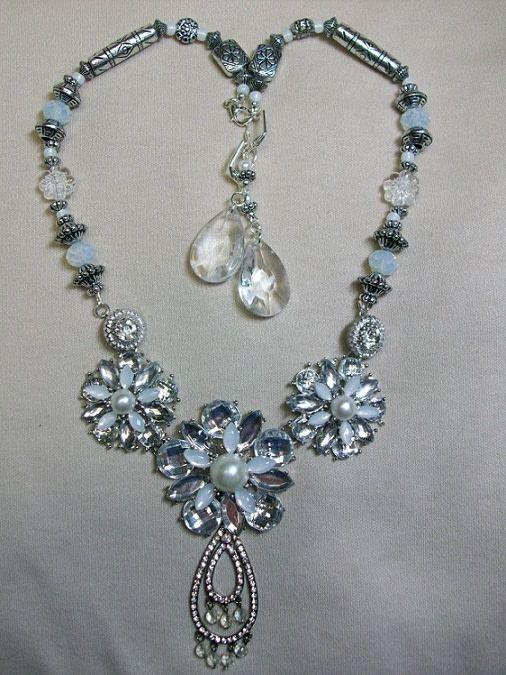 Sharon B's Originals 3 Silver & Crystal Flowers w/Vintage Teardrop ER & Necklace Set