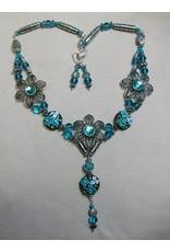 Sharon B's Originals 3 Silver & Aqua Flowers w/Aqua Lampwork Beeds ER & Necklace Set