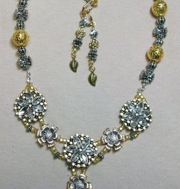 Sharon B's Originals 3 Silver & Gold Flowers w/Floral Slides ER & Necklace Set