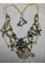 Sharon B's Originals Ant. Gold Unicycle Pendant w/ Black & Tan Flowers w/Earrings