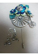 Sharon B's Originals Ant. Silver Unicycle Stick Pin w/Blue & Green Flowers w/Earrings