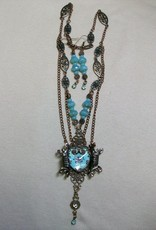 Sharon B's Originals Hand Painted Rose Heart w/ Filigrees & Blue Beads w/ Earrings