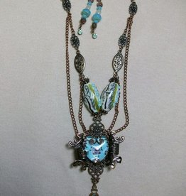 Sharon B's Originals Hand Painted Rose Heart w/ Filigrees & Lampwork Beads w/ Earrings