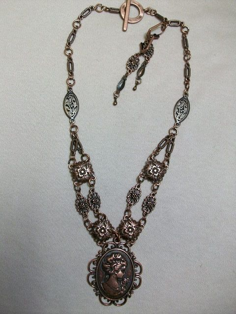 Sharon B's Originals Ant. Copper Cameo Pendant w/ 2 Strands w/ Earrings