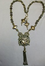 Sharon B's Originals Ant. Gold 2 Birds Pendant w/ Cloisonne Beads w/ Earrings