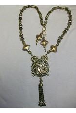 Sharon B's Originals Ant. Gold 2 Birds Pendant w/ Cloisonne Beads w/ Earrings