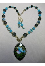 Sharon B's Originals Large Oval Hand Painted Russian Bird Pendant Necklace & Earrings